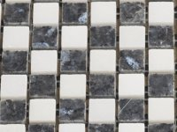MHNS 06 white / black mix - polished 15x15x6mm