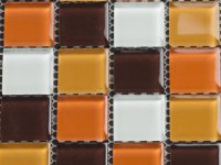 MHDN 11 - white / orange / brown mix 25x25x4mm