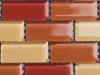 MHDN 28 - yellow / orange / red mix - brick 25x50x4mm